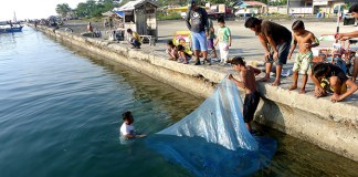 Villagers from Agdao area catch fish using a mosquito net at Sta. Ana wharf in Davao City on Sunday morning, Oct. 20, 2013. Mindanews Photo by Keith Bacongco