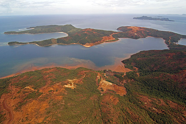 EFFECTS OF MINING. This is how massive mining operations look like from the air. Taken above the municipality of Carrascal in Surigao del Sur on Tuesday, 7 Oct 2014. MindaNews photo by ERWIN MASCARINAS