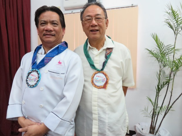 "Marco Polo Davao executive chef Eduardo ""Ed"" Tuazon and PWC Davao former director of research Dr. Mac Tiu"
