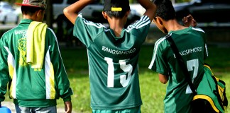 WEARING IT PROUD. While most of the athletes bear their names or region on the back of their jerseys, these football players from the Autonomous Region in Muslim Mindanao Region had their jerseys marked Bangsamoro instead. These players belong to the elementary football squad of the ARMM Region who beat the Bicol Region squad 2-nil on Wednesday, May 6, during the Palarong Pambansa in Tagum City, Davao del Norte. Mindanews Photo by Keith Bacongco