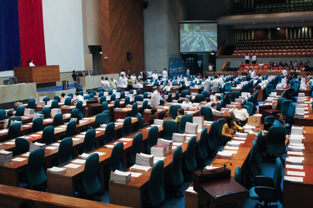 Most of the seats of the House members are empty as interpellation for House Bill 5811 continues on June 4, 2015. MindaNews photo by Toto Lozano