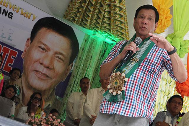 Davao City Mayor Rodrigo Duterte at the 64th founding anniversary of M'lang in North Cotabato on Monday, August 3. 2015. MindaNews photo by TOTO LOZANO