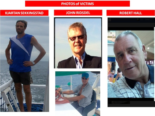 Photos of the three foreigners abducted from a resort in Samal, Davao del Norte on Sept. 21. Courtesy of EastMinCom