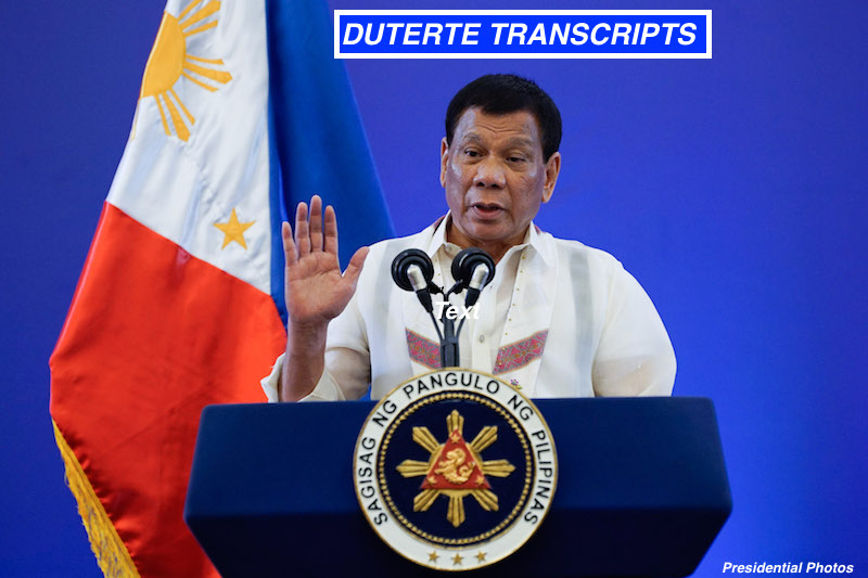 DUTERTE TRANSCRIPTS: Federation of Indian Chambers of Commerce. 20 Feb 2018