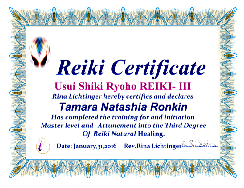 Tamara Ronkin is a Reiki Level III