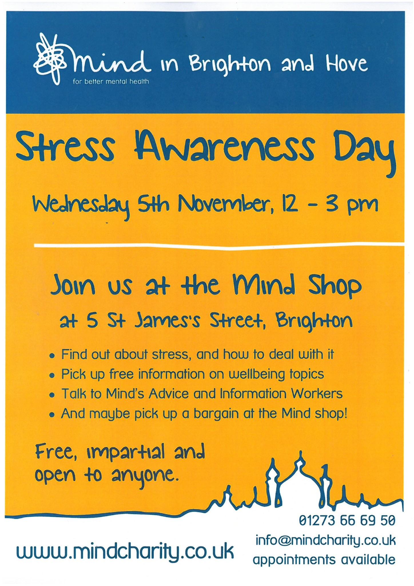 Free Talk Wednesday November 5th In >> Stress Awareness Day November 5th Mind Brighton And Hove