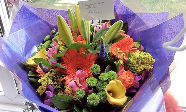 bunch of flowers and thank you note