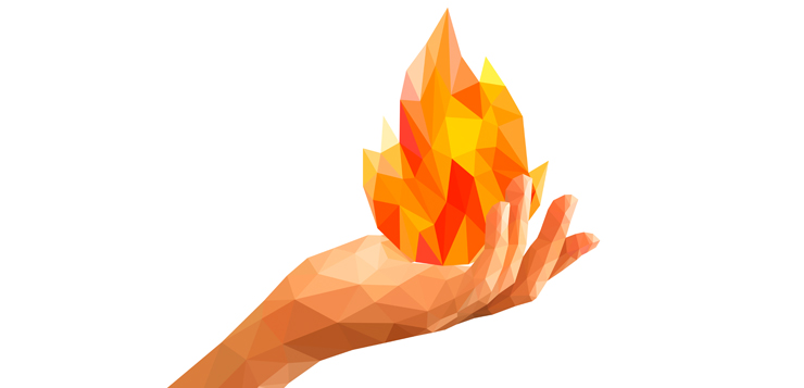 illustration of person holding flames in hand
