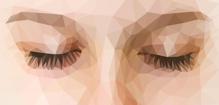 illustration of face, eyes closed
