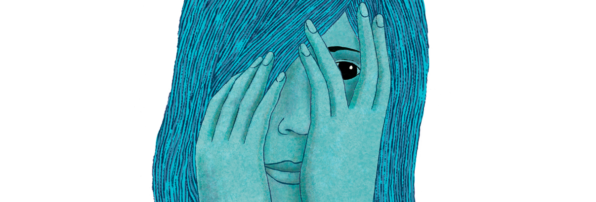 illustration of shy woman holding hands on face