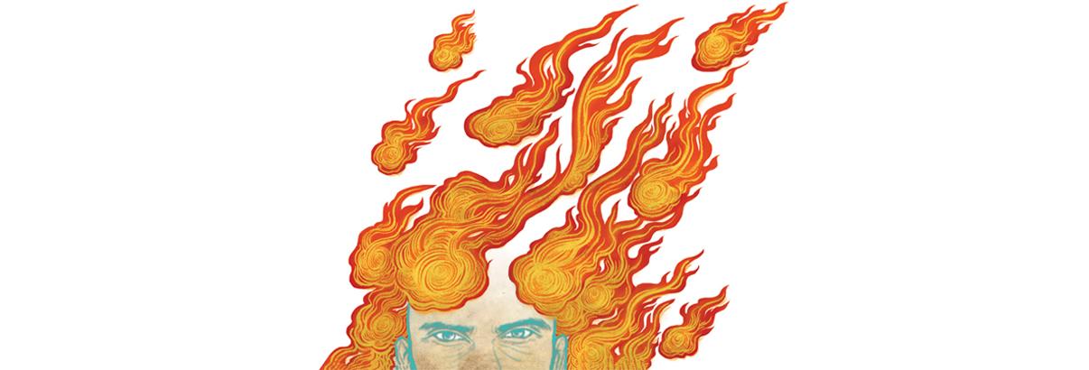 illustration of man with fireballs around his head
