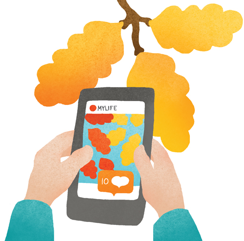 illustration of someone playing on their phone