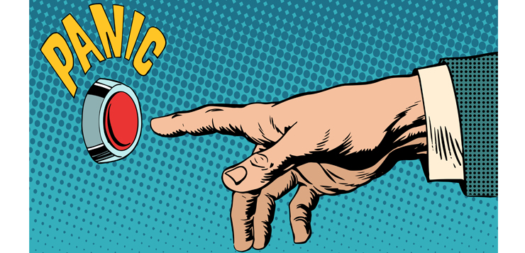 illustration finger pointing to panic button