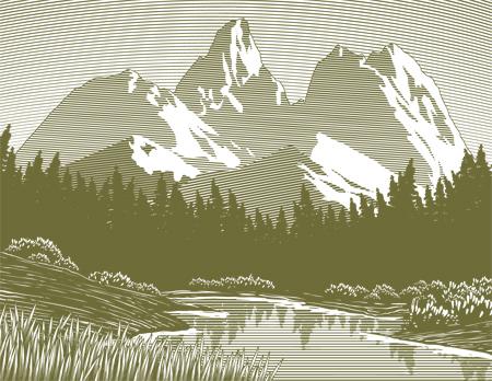 Woodcut-style illustration of a mountain lake scene