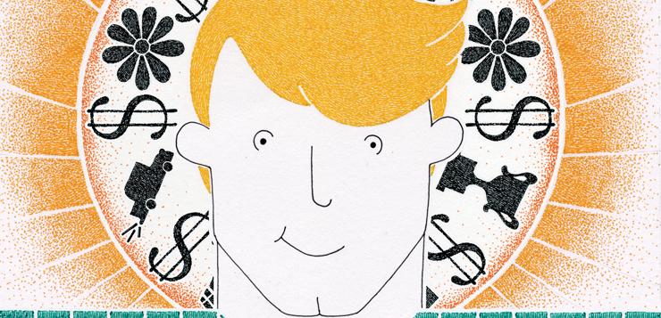 illustration of handsome blonde man