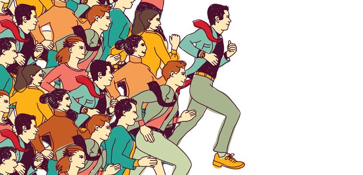 illustration people running