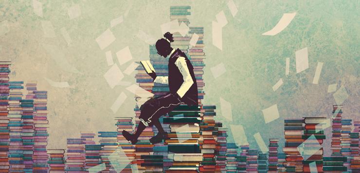 illustration man reading on pile of books