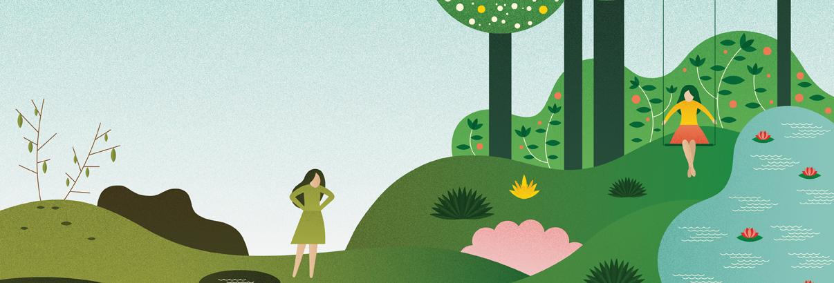 illustration women walking around forest landscape