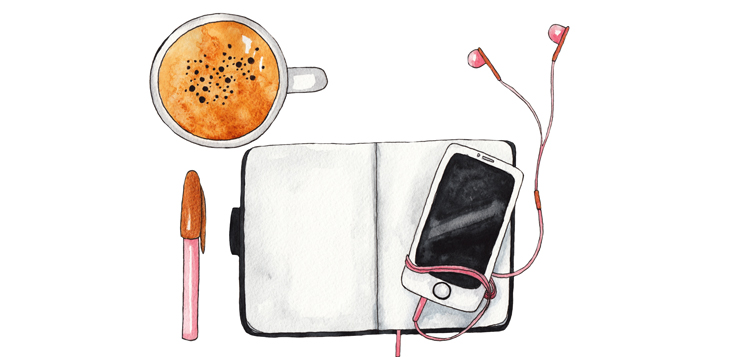 illustration coffee cup, notebook, pen, smartphone and headphones on white background