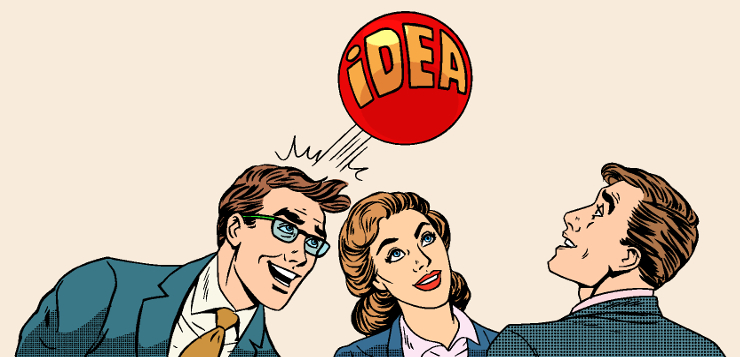 illustration of colleagues with idea bouncing off the head one one colleague