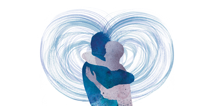 illustration of two people hugging