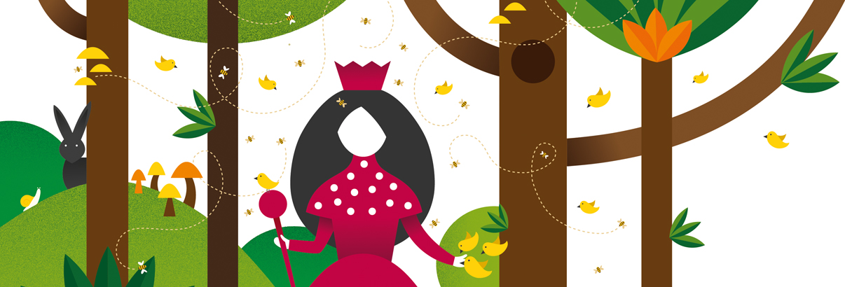 illustration woman dressed as queen standing in forest