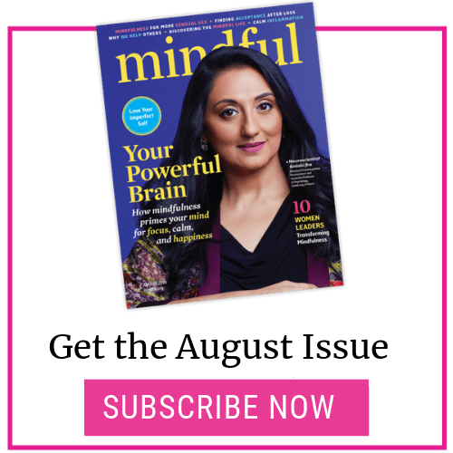Mindful Magazine August 2019 Issue Cover with subscribe button