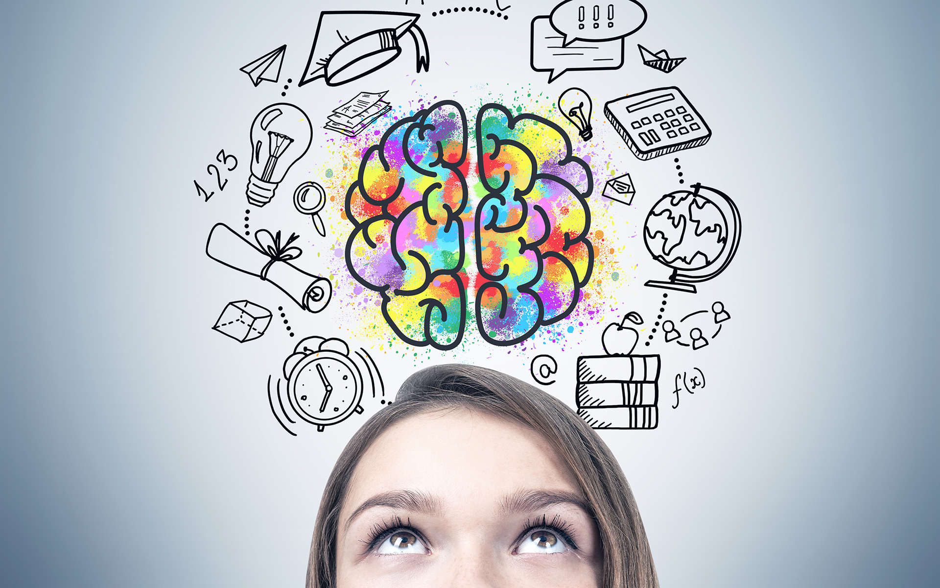 8 ways to care for your amazing brain - woman's head with illustration of brain and thoughts