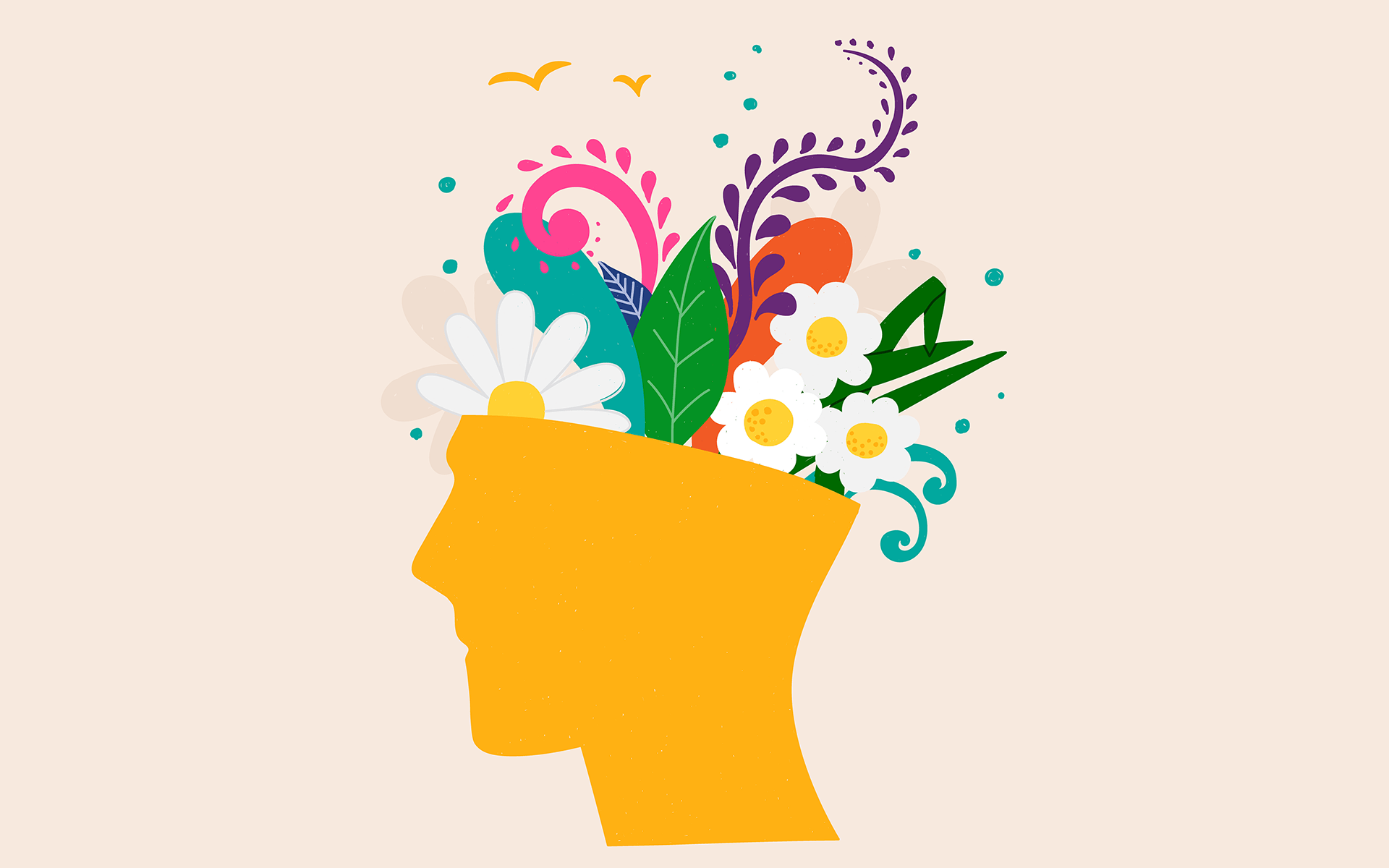 A 2-Minute Practice to Calm Anxiety and Nurture Curiosity - Abstract image of a head with flowers inside