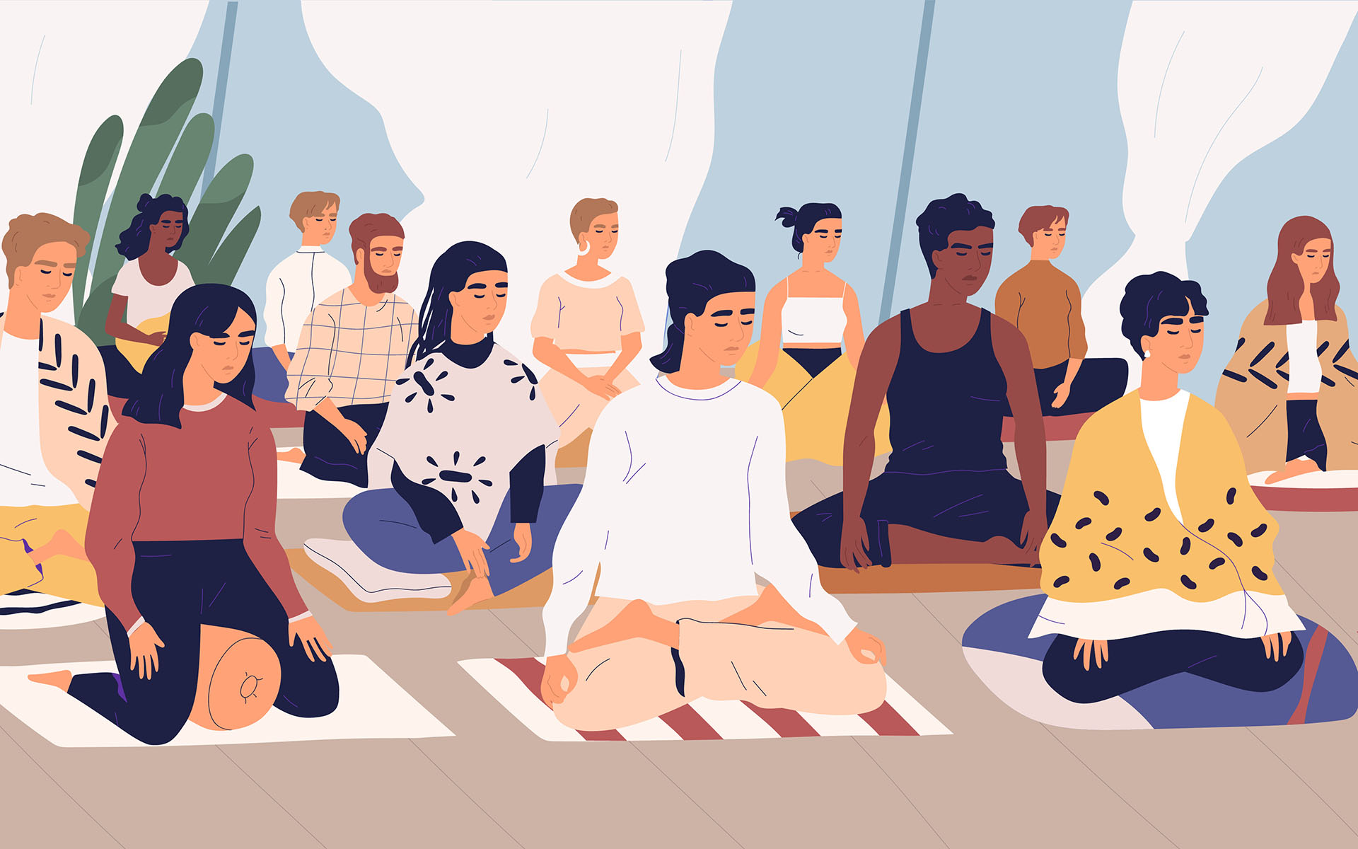 Meditating with others - Group of young men and women sitting on floor, meditating and pe