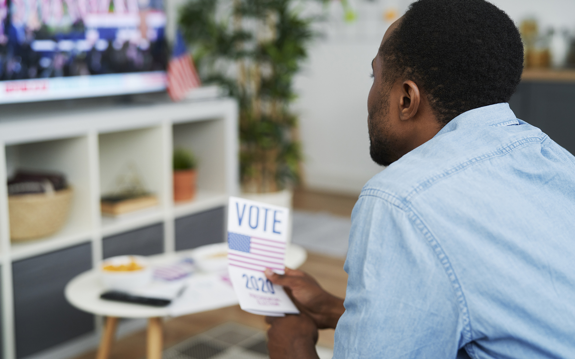 An Election Day Meditation - Close up of man interested in watching TV of election