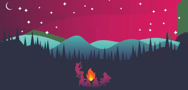 friends around camp fire