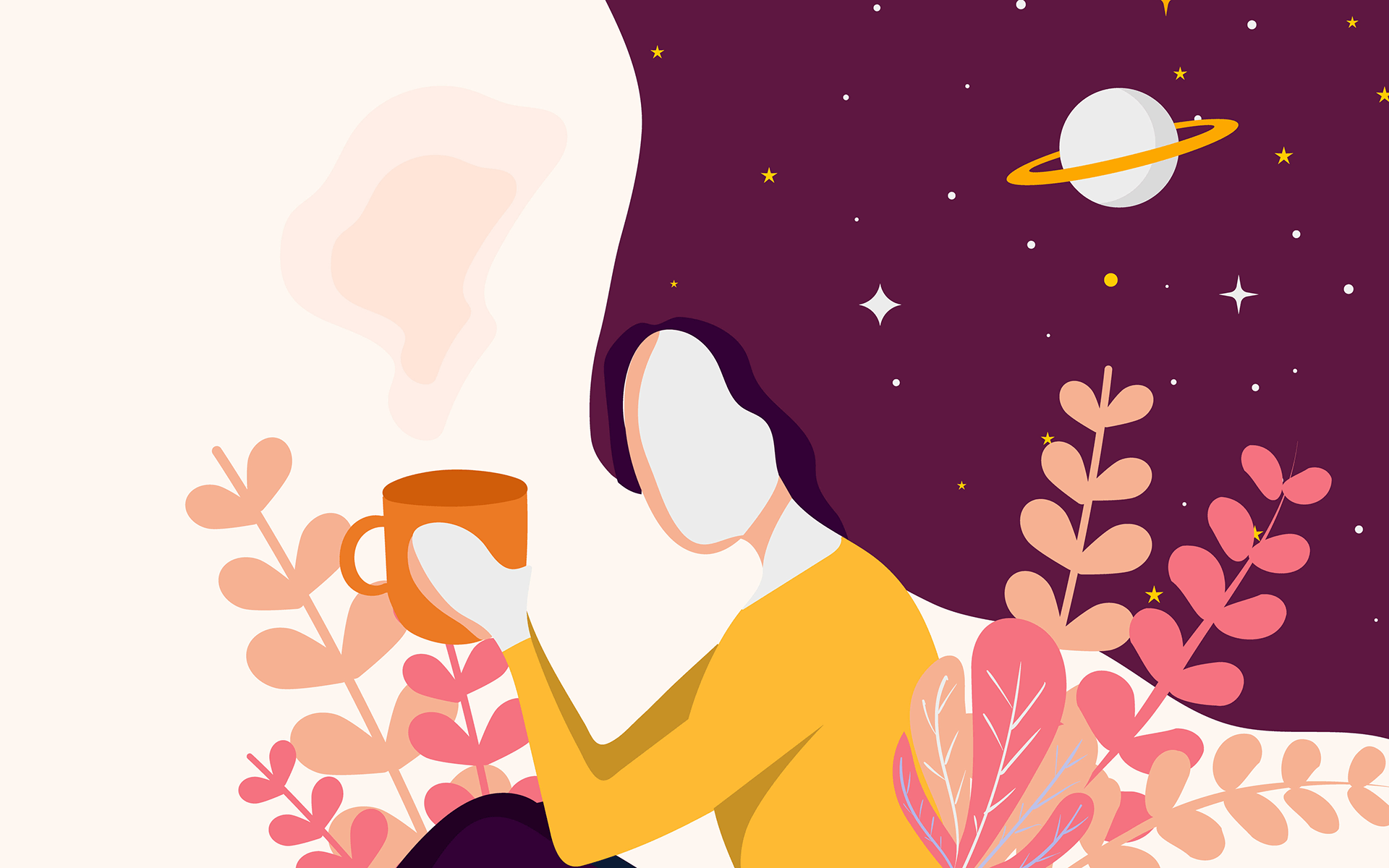 Finding a Way to Measure and Study Our Internal Attention—Illustration of a white woman wearing a yellow shirt and black pants sitting down holding an orange mug with pink and orange plants around her. Her hair flows behind her and up and is purple with starts and a planet in it.