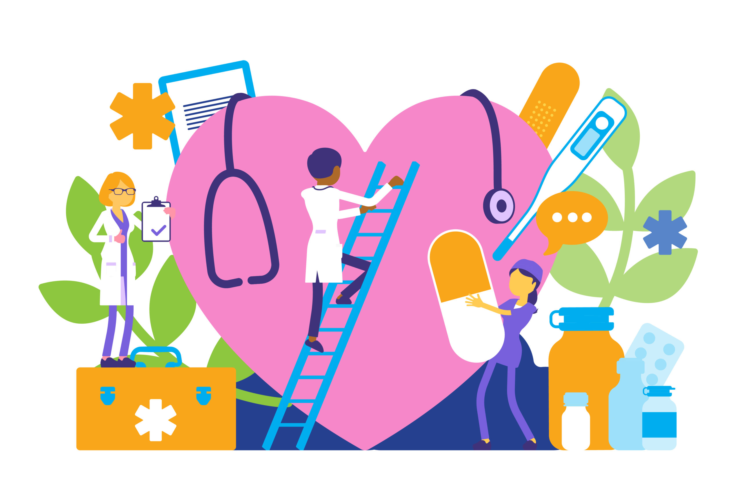 Accessible mindfulness practices, meditations, and resources for healthcare workers - Illustration of a healthcares tending to a cartoon heart