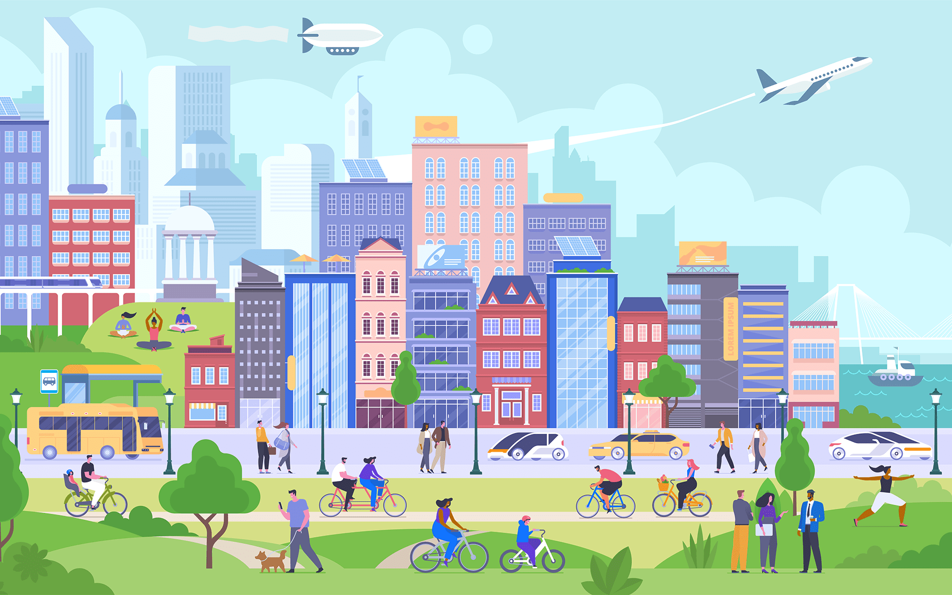 How 3 American Cities Are Embracing Mindfulness—Illustration of a busy and bright colored street scap on a sunny day with a green park in the foreground and colorful buildings behind.