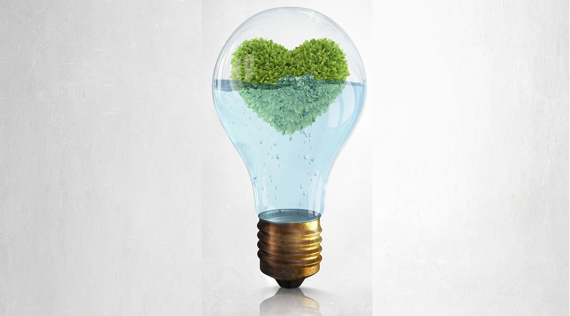 Noticing What's Alive for You Right Now - Glass lightbulb with water and love shaped green tree inside