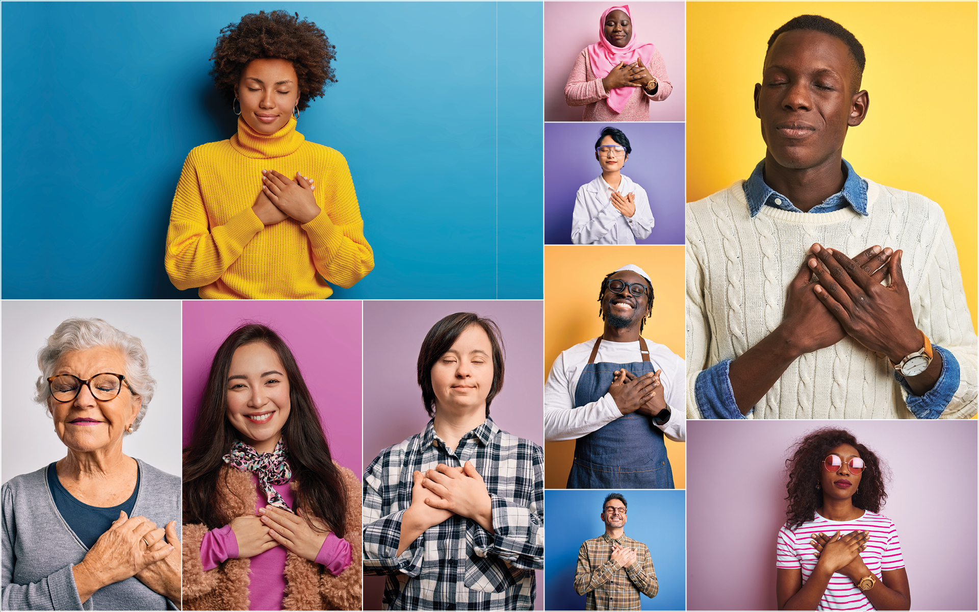 Meditation Teacher Sharon Salzberg Talks About the Power of Loving-Kindness - Image collage of men and women holding their hands over their hearts