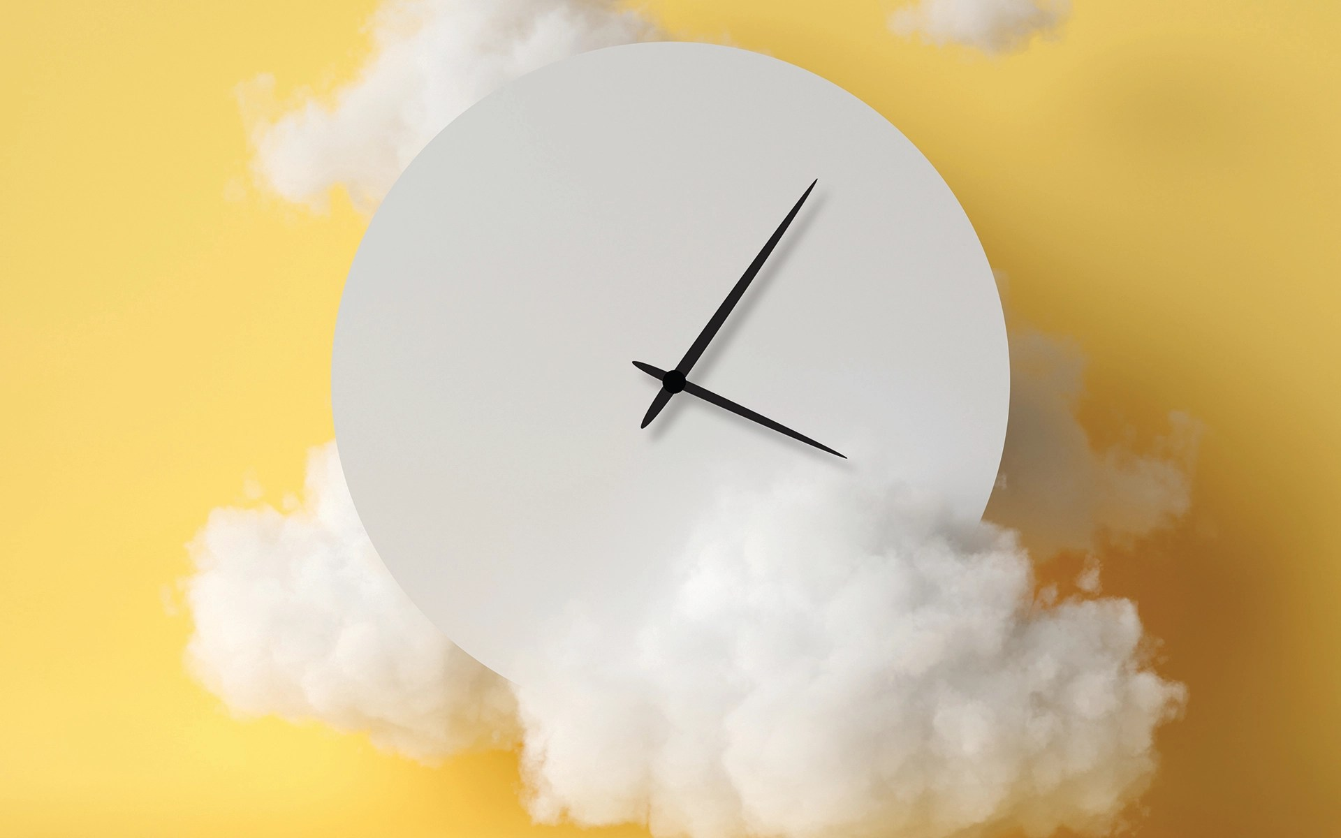 The Science of Deep Sleep - Clock amidst fluffy clouds on a yellow background