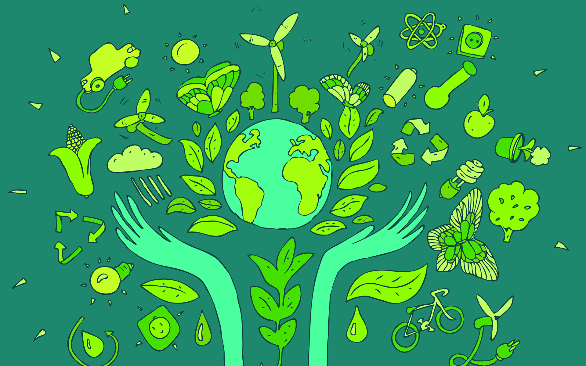 Two Simple Mindfulness Practices to Help You Connect with Nature - Eco Friendly concept, save earth concept, vector illustration