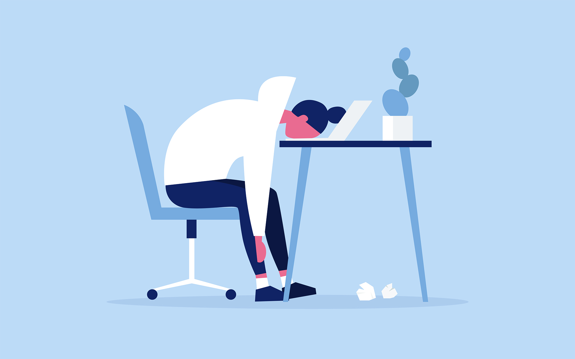 Video chatting exhaustion is real - Illustration of a woman with her head dropped on her keyboard