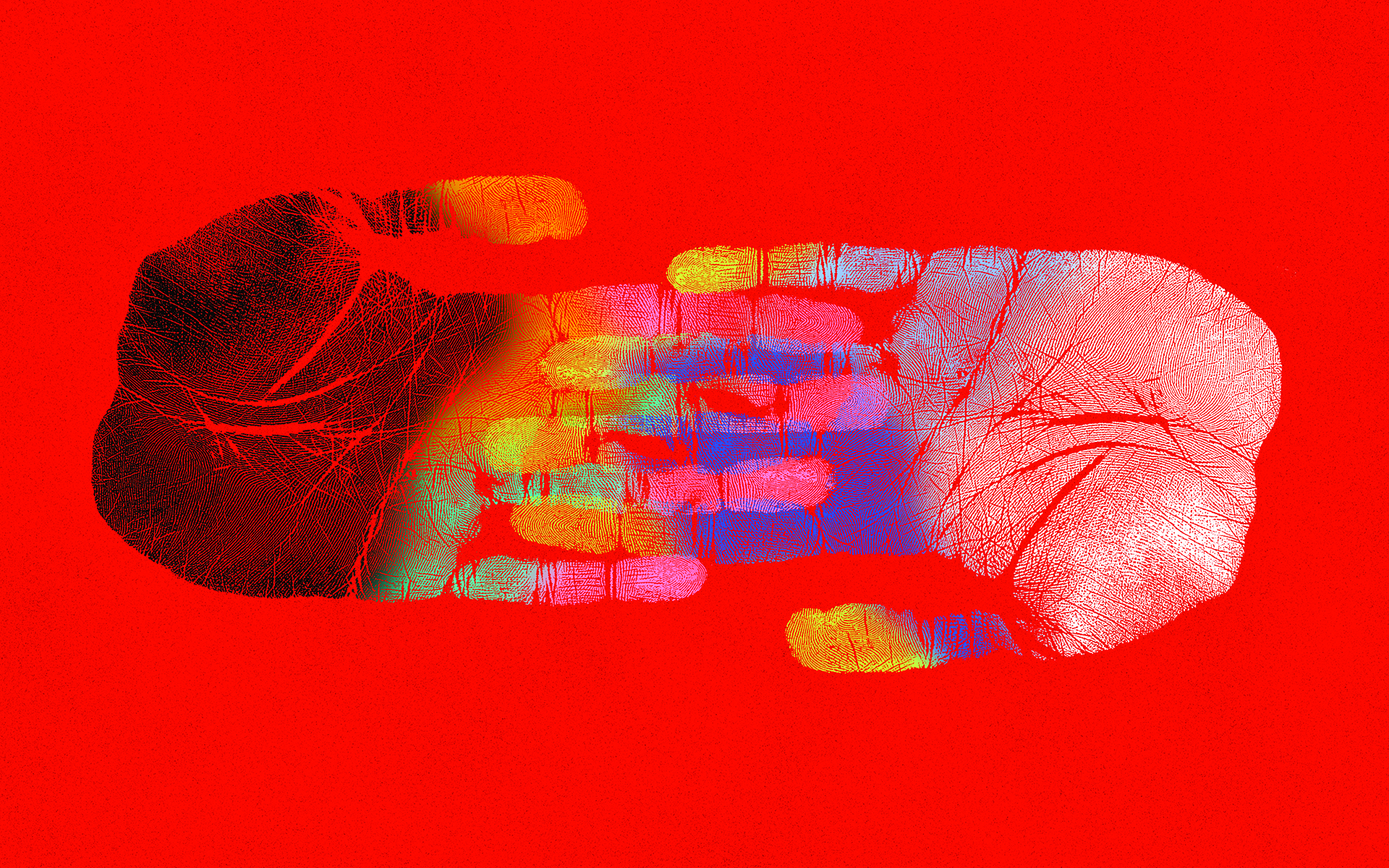 We're All Biased. Here's How Meditation May Help—Painting of two hands painted in many colors coming together from left and right with their fingers interlocking in the middle over a red background.