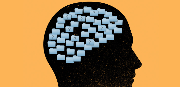 illustration of brain with file folders in it with question marks on them