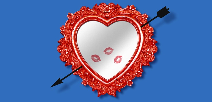 illustration of mirror with lipstick kisses on it