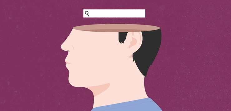 illustration man with search bar over his head