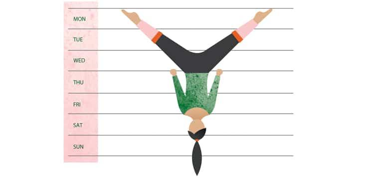 woman upside down on calendar, doing acrobatics