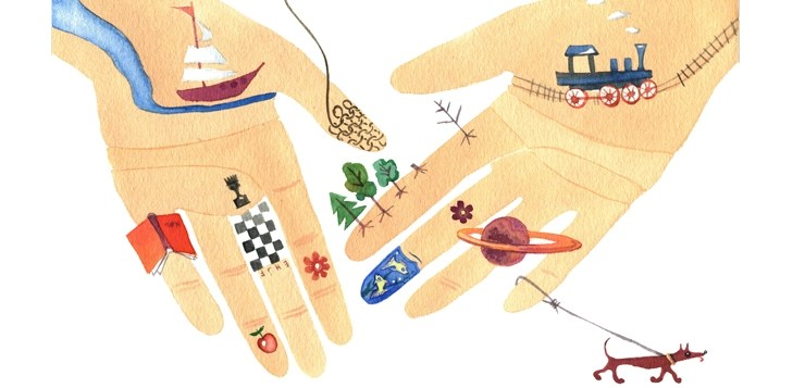 illustration hands with hobbies drawn on them