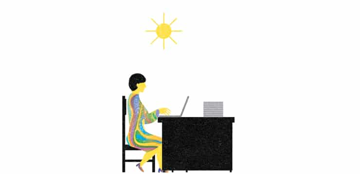 illustration woman working at desk with sun overhead