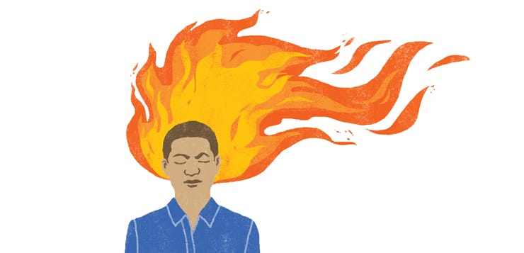 illustration of man meditating with flames behind his head
