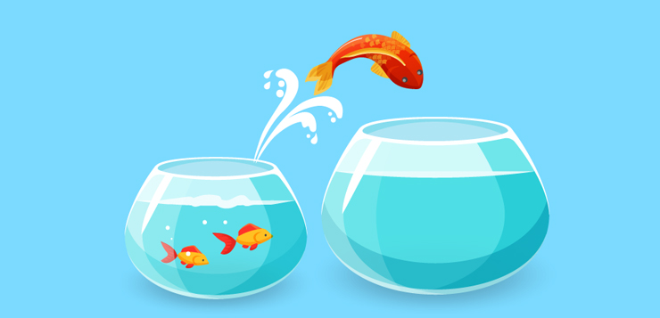 illustration goldfish escaping from a bowl into a larger one