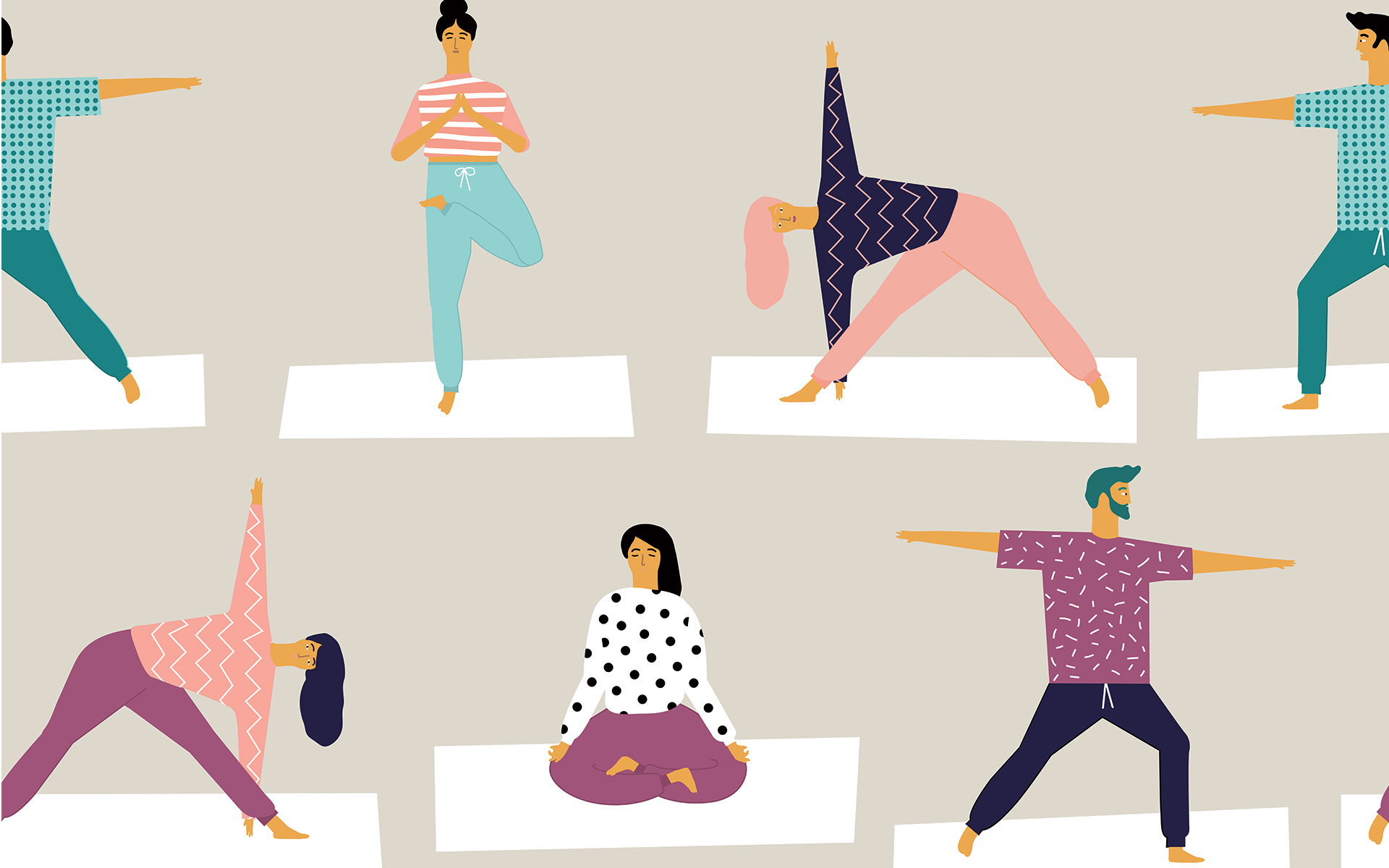 illustration of men and women meditating and doing yoga poses